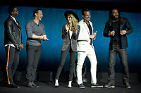 LAS VEGAS, NV - APRIL 24: (L-R) Actors Yahya Abdul-Mateen II, Patrick Wilson, Amber Heard, Will Arnett and Jason Momoa onstage during the Warner Bros. Pictures presentation at CinemaCon 2018 at The Colosseum at Caesars Palace on April 24, 2018 in Las Vegas, Nevada. (Photo by Frank Micelotta/PictureGroup)