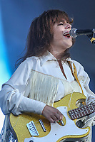 Lisa Leblanc performs on the main stage of the Festival d'ete de Quebec (FEQ) in Quebec city Tuesday July 11, 2017.