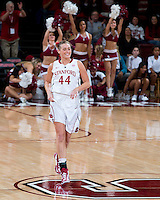 STANFORD, CA - January 25, 2013: Stanford Cardinal's Joslyn Tinkle after her first 3-pointer of the night in Stanford's 65-44 victory over the Utah at Maples Pavilion in Stanford, California.