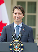 Prime Minister Justin Trudeau of Canada holds a joint press conference with United States President Barack Obama in the Rose Garden of the White House in Washington, DC on Thursday, March 10, 2016. <br /> Credit: Ron Sachs / CNP