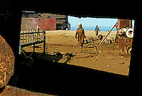 Workers at the Gaddani ship-breaking yard.