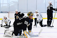 June 26, 2018: Boston Bruins goalie Dan Vladar (80) catches his breath after a timed speed drill during the Boston Bruins development camp held at Warrior Ice Arena in Brighton Mass. Eric Canha/CSM