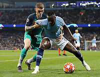 Manchester City's Benjamin Mendy shields the ball from  Tottenham Hotspur's Kieran Trippier<br /> <br /> Photographer Rich Linley/CameraSport<br /> <br /> UEFA Champions League - Quarter-finals 2nd Leg - Manchester City v Tottenham Hotspur - Wednesday April 17th 2019 - The Etihad - Manchester<br />  <br /> World Copyright © 2018 CameraSport. All rights reserved. 43 Linden Ave. Countesthorpe. Leicester. England. LE8 5PG - Tel: +44 (0) 116 277 4147 - admin@camerasport.com - www.camerasport.com
