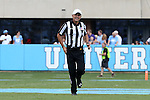 17 September 2016: Referee Riley Johnson. The University of North Carolina Tar Heels hosted the James Madison University Dukes at Kenan Memorial Stadium in Chapel Hill, North Carolina in a 2016 NCAA Division I College Football game.