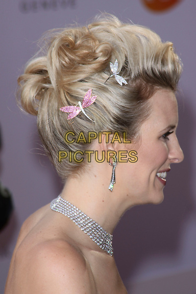 ALISON BALSOM .Arriving to the Classical Brit Awards 2011 at the Royal Albert Hall, London, England, UK, 12th May 2011..arrivals brits portrait headshot hair up clip clips dragonfly pink profile earrings strapless side .CAP/AH.©Adam Houghton/Capital Pictures.