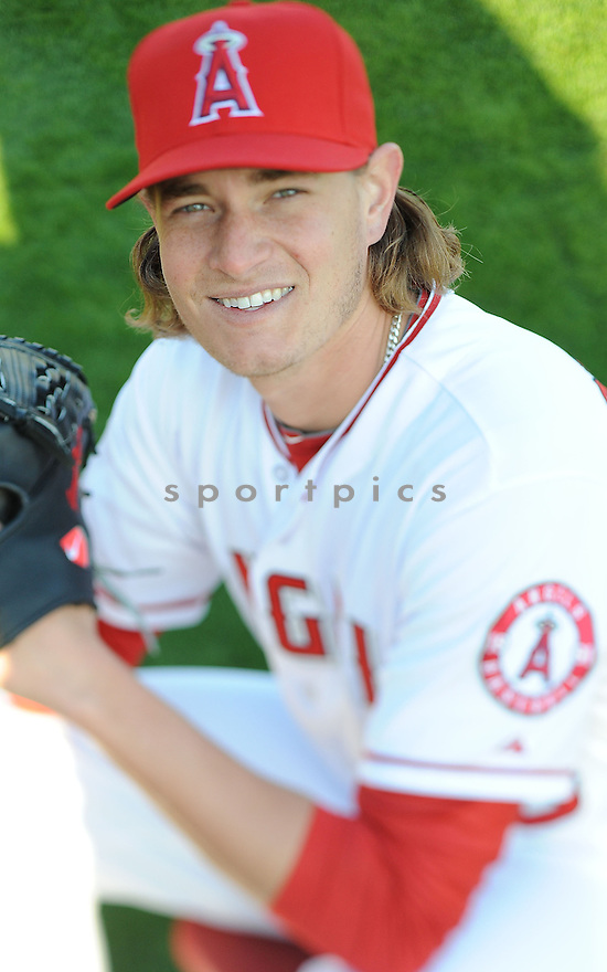 Los Angeles Angels Garrett Richards (43) during media photo day on February 21, 2013 at spring training in Tempe, AZ.