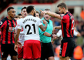 3rd December 2017, Vitality Stadium, Bournemouth, England; EPL Premier League football, Bournemouth versus Southampton;  Ryan Bertrand of Southampton and Simon Francis of Bournemouth confront each other a after Referee Jonathan Moss awards Southampton a free kick