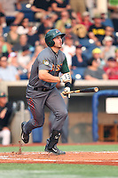 Brian Mundell (16) of the Boise Hawks bats during a game against the Hillsboro Hops at Ron Tonkin Field on August 22, 2015 in Hillsboro, Oregon. Boise defeated Hillsboro, 6-4. (Larry Goren/Four Seam Images)