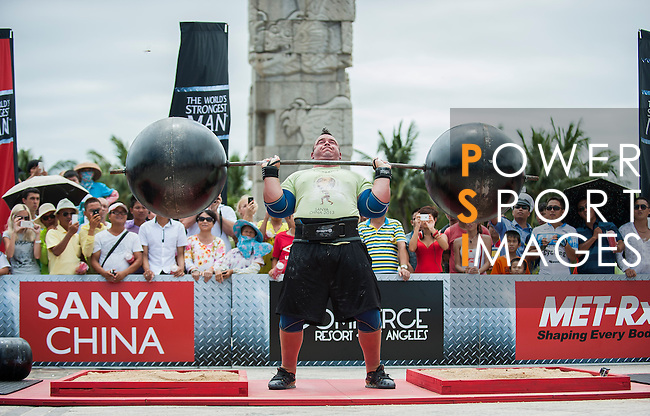 HAINAN ISLAND, CHINA - AUGUST 24:  Mike Jenkins of USA competes at the Circus Medley event during the World's Strongest Man competition at Yalong Bay Cultural Square on August 24, 2013 in Hainan Island, China.  Photo by Victor Fraile