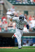 Columbus Clippers center fielder Collin Cowgill (7) throws his bat down after flying out during a game against the Rochester Red Wings on June 16, 2016 at Frontier Field in Rochester, New York.  Rochester defeated Columbus 6-2.  (Mike Janes/Four Seam Images)