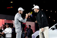 Bernd Wiesberger (AUT) & Max Schmitt (GER) in action at the Porsche Urban Golf Challenge during previews ahead of the Porsche European Open, Green Eagle Golf Club, Hamburg, Germany. 03/09/2019<br /> Picture: Golffile | Phil Inglis<br /> <br /> <br /> All photo usage must carry mandatory copyright credit (© Golffile | Phil Inglis)