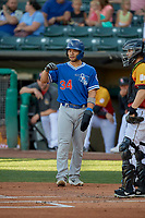 Connor Joe (34) of the Oklahoma City Dodgers during the game against the Salt Lake Bees at Smith's Ballpark on August 1, 2019 in Salt Lake City, Utah. The Bees defeated the Dodgers 14-4. (Stephen Smith/Four Seam Images)