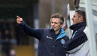 Wycombe Wanderers Manager Gareth Ainsworth points something out to Barry Richardson of Wycombe Wanderers during the Sky Bet League 2 match between Wycombe Wanderers and Luton Town at Adams Park, High Wycombe, England on 6 February 2016. Photo by Andy Rowland.