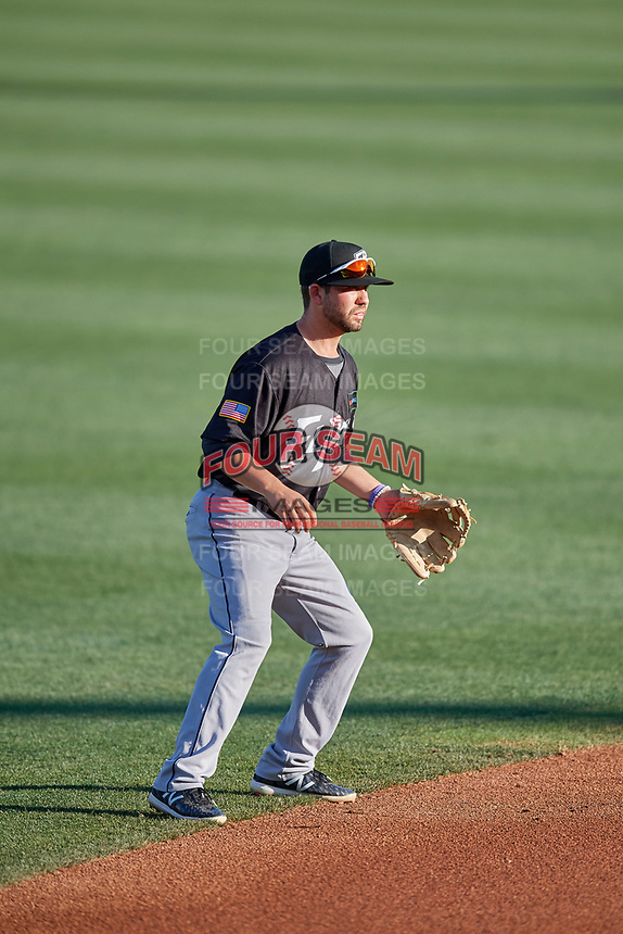 Peter Van Gansen (12) shortstop of the El Paso Chihuahuas on defense against the Salt Lake Bees at Smith's Ballpark on August 17, 2019 in Salt Lake City, Utah. The Bees defeated the Chihuahuas 5-4. (Stephen Smith/Four Seam Images)