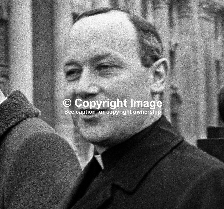 Father Thomas O&rsquo;Neill, from Cistercian Monastry, Portglenone, Co Antrim, N Ireland, arriving at a Belfast Court, January 1972, to face charges of aiding Provisional IRA escapees from Belfast&rsquo;s Crumlin Road Jail. 197201000009a<br />