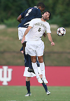 04 September 2009: Aaron Maund #2 of the University of Notre Dame heads the ball past Austin Da Luz #6 of Wake Forest University during an Adidas Soccer Classic match at the University of Indiana in Bloomington, In. The game ended in a 1-1 tie..