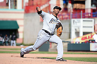 Akron RubberDucks pitcher J.C. Ramirez (43) delivers a pitch during a game against the Erie SeaWolves on May 18, 2014 at Jerry Uht Park in Erie, Pennsylvania.  Akron defeated Erie 2-1.  (Mike Janes/Four Seam Images)