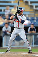 Rome Braves shortstop Jose Peraza #4 awaits a pitch during a game against the Asheville Tourists at McCormick Field on May 23, 2013 in Asheville, North Carolina. The Braves won the game 6-1. (Tony Farlow/Four Seam Images).