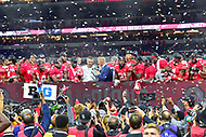 Indianapolis, IN - DEC 1, 2018: Ohio State Buckeyes head coach Urban Meyer on the podium with his  team after defeating the Northwestern Wildcats 45-24 in the Big Ten Championship game at Lucas Oil Stadium in Indianapolis, IN. (Photo by Phillip Peters/Media Images International)