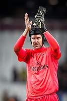 Goalkeeper Petr Cech of Arsenal applauds the support during the Premier League match between West Ham United and Arsenal at the Olympic Park, London, England on 13 December 2017. Photo by Andy Rowland.