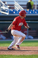 Auburn Doubledays designated hitter Jake Jefferies (23) at bat during a game against the Batavia Muckdogs on September 7, 2015 at Falcon Park in Auburn, New York.  Auburn defeated Batavia 11-10 in ten innings.  (Mike Janes/Four Seam Images)
