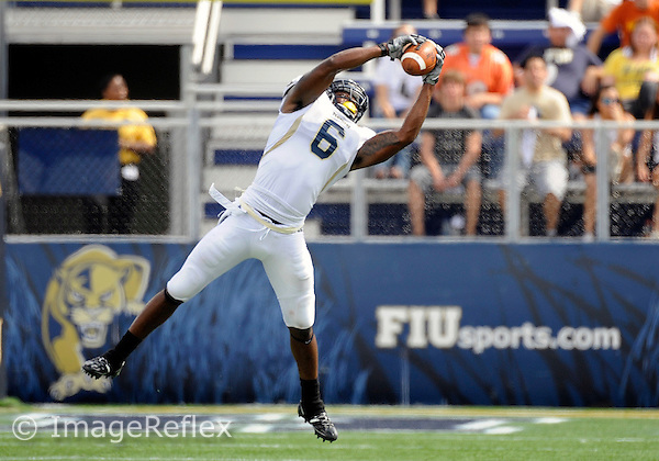 Florida International University football player defensive back Jeremiah Weatherspoon (6) plays against the University of Louisiana-Lafayette on October 31, 2009 at Miami, Florida. FIU won the game 20-17. .