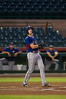 AZL Rangers catcher Sam Huff (12) watches as a foul ball reaches the right field bleachers against the AZL Giants on August 22 at Scottsdale Stadium in Scottsdale, Arizona. AZL Rangers defeated the AZL Giants 7-5. (Zachary Lucy/Four Seam Images via AP Images)
