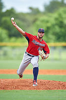 GCL Twins relief pitcher Matz Schutte (23) delivers a pitch during the first game of a doubleheader against the GCL Rays on July 18, 2017 at Charlotte Sports Park in Port Charlotte, Florida.  GCL Twins defeated the GCL Rays 11-5 in a continuation of a game that was suspended on July 17th at CenturyLink Sports Complex in Fort Myers, Florida due to inclement weather.  (Mike Janes/Four Seam Images)