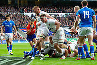 Jamie George of England scores a try in the first half as team-mates Brad Shields and Tom Curry celebrate. Guinness Six Nations match between England and Italy on March 9, 2019 at Twickenham Stadium in London, England. Photo by: Patrick Khachfe / Onside Images