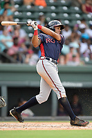 Third baseman Kurt Hoekstra (16) of the Rome Braves bats in a game against the Greenville Drive on Sunday, August 13, 2017, at Fluor Field at the West End in Greenville, South Carolina. Greenville won, 2-1. (Tom Priddy/Four Seam Images)
