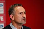 08.11.2019, RheinEnergieStadion, Koeln, GER, 1. FBL, 1.FC Koeln vs. TSG 1899 Hoffenheim,<br />  <br /> DFL regulations prohibit any use of photographs as image sequences and/or quasi-video<br /> <br /> im Bild / picture shows: <br /> Pressekonferenz (PK) nach dem Spiel,  Achim Beierlorzer Trainer, Headcoach (1.FC Koeln),ist sehr angespannt<br /> <br /> Foto © nordphoto / Meuter
