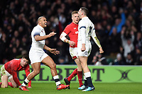 Jonny May of England celebrates his first try. Natwest 6 Nations match between England and Wales on February 10, 2018 at Twickenham Stadium in London, England. Photo by: Patrick Khachfe / Onside Images