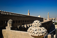 Decorative mosque wall and minarets, Cairo, Egypt
