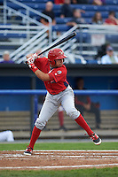 Williamsport Crosscutters shortstop William Cuicas (8) at bat during a game against the Batavia Muckdogs on August 29, 2015 at Dwyer Stadium in Batavia, New York.  Williamsport defeated Batavia 7-3.  (Mike Janes/Four Seam Images)