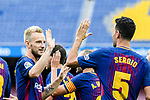 Sergio Busquets Burgos of FC Barcelona (R) celebrates after scoring his goal with Ivan Rakitic of FC Barcelona (L)  during the La Liga 2017-18 match between FC Barcelona and Las Palmas at Camp Nou on 01 October 2017 in Barcelona, Spain. (Photo by Vicens Gimenez / Power Sport Images