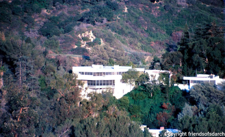 Richard Neutra: Lovell House from Ennis House. Photo '82.