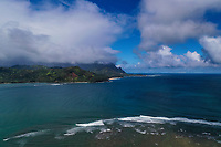 Hanalei Bay surf point, with Mount Makana (or Bali Hai) in the distance, Kaua'i.