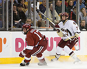 Tyler Magura (Harvard University - Fargo, ND) and Carl Sneep (Boston College - Nisswa, Minnesota) put on the brakes. The Boston College Eagles defeated the Harvard University Crimson 3-1 in the first round of the 2007 Beanpot Tournament on Monday, February 5, 2007, at the TD Banknorth Garden in Boston, Massachusetts.  The first Beanpot Tournament was played in December 1952 with the scheduling moved to the first two Mondays of February in its sixth year.  The tournament is played between Boston College, Boston University, Harvard University and Northeastern University with the first round matchups alternating each year.