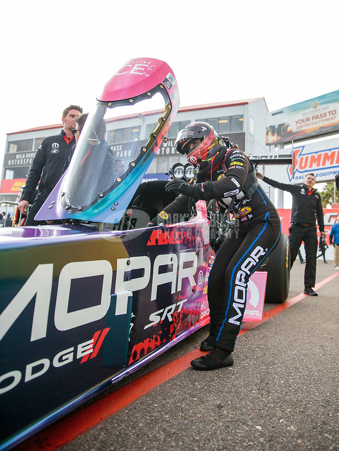Feb 22, 2019; Chandler, AZ, USA; NHRA top fuel driver Leah Pritchett during qualifying for the Arizona Nationals at Wild Horse Pass Motorsports Park. Mandatory Credit: Mark J. Rebilas-USA TODAY Sports