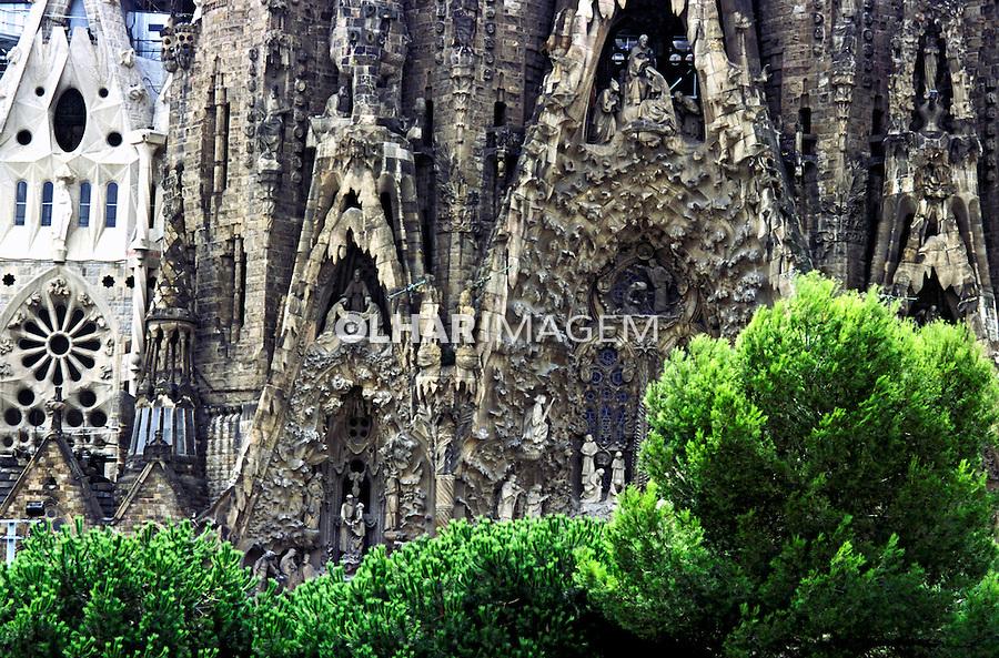 Detalhe da Igreja Sagrada Família, de Gaudí, Barcelona. Espanha. 2000. Foto de Ricardo Azoury.
