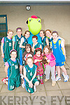 TOBY BLITZ: Member of the Spa basketball team with Toby at the National Schools Basketball Blitz at Mercy Mounthawk on Saturday pictured Bla?thi?n Griffin, Shannon Daly, Aoife Crowley, Sarah Lenihan, Toby, Caoimhe Crowe, Maeve Carmody, Courtney Ryan, Niamh Hanafin, Sally Ann Lenihan, Siltna Crowe, Sive Carmody and Sinead O'Callaghan.