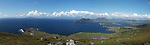 A panoramic view of  Valentia Island in County kerry, ireland from the Valentia Radio Station on left to Cahersiveen town on right. In the background are Innisvickaullane Island, The great Blasket islands and Valentia Lighthouse in foreground.<br /> Picture by Don MacMonagle