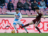Elseid Hysaj  and Andrea Belotti  during the  italian serie a soccer match,between SSC Napoli and Torino       at  the San  Paolo   stadium in Naples  Italy , December 18, 2016
