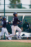 New York Yankees Oswald Peraza (5) follows through on a swing during an Instructional League game against the Pittsburgh Pirates on September 28, 2017 at Pirate City in Bradenton, Florida.  (Mike Janes/Four Seam Images)