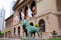 Lion statue in front of the Art Institute.  Chicago Illinois USA