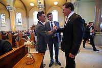 LATROBE, PA - OCTOBER 4: (L-R) Ricky Fowler and Phil Mickelson shake hands after putting the Ryder Cup on display during a Celebration of Arnold Palmer at Saint Vincent College on October 4, 2016 in Latrobe, Pa. (Photo by Hunter Martin/Getty Images) *** Local Caption *** Ricky Fowler;Bubba Watson;Phil Mickelson