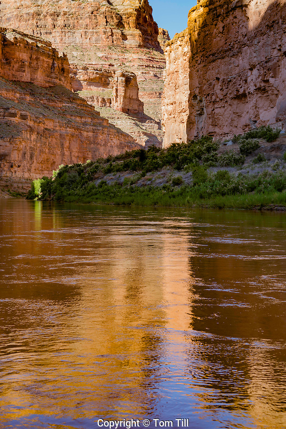 Colorado River in Cataract Canyon, Canyonlands National Park, Utah, Reflections from cliff walls