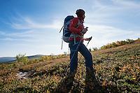Female hiker hiking through autumn landscape south of Saltoluokta Fjällstation, Kungsleden trail, Lapland, Sweden