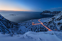 Winter view at twilight over Haukland beach from Mannen, Vestvågøy, Lofoten Islands, Norway