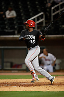 Chattanooga Lookouts Ibandel Isabel (45) hits a single during a Southern League game against the Birmingham Barons on May 1, 2019 at Regions Field in Birmingham, Alabama.  Chattanooga defeated Birmingham 5-0.  (Mike Janes/Four Seam Images)